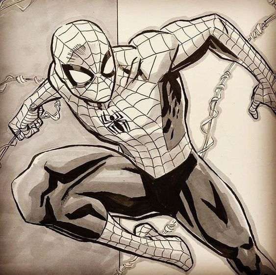 spiderman en blanco y negro
