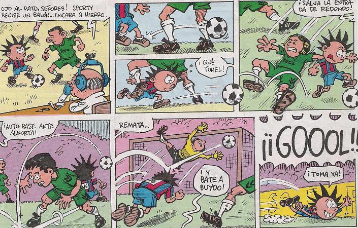 comics sobre niños jugando futbol