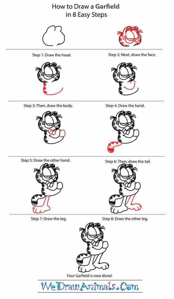 como dibujar a garfield