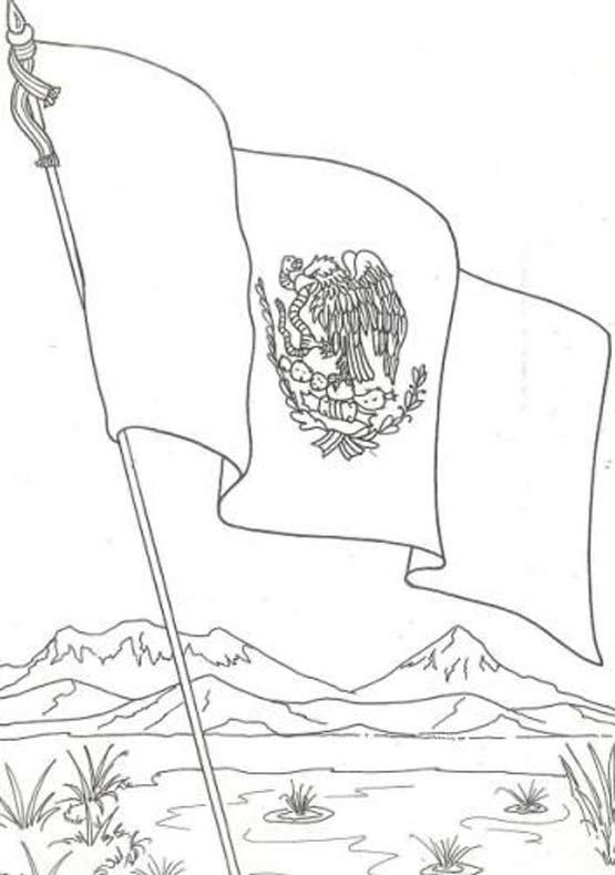 bandera de mexico para colorear